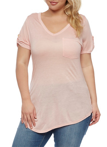 Plus Size V Neck T Shirt with Tabbed Sleeves at Rainbow Shops in Daytona Beach, FL | Tuggl