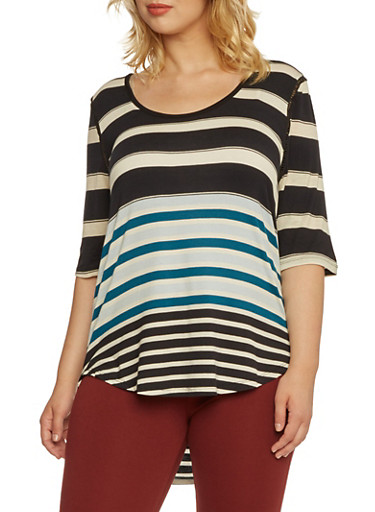Plus Size Striped Top with Eyelet Trim,BLACK COMBO,large