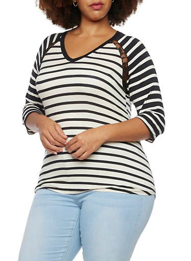 Plus Size Striped Top with Lace Insets and V Neck,BLACK COMBO,large