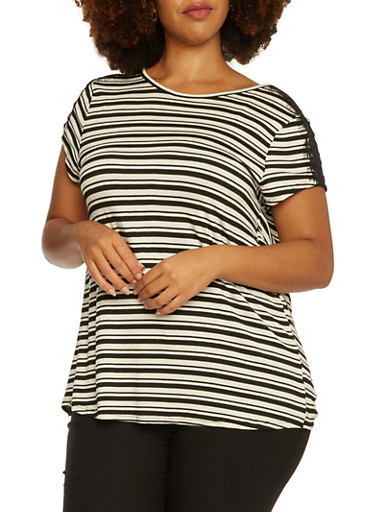 Plus Size Striped Top with Wrap Back,BLACK COMBO,large