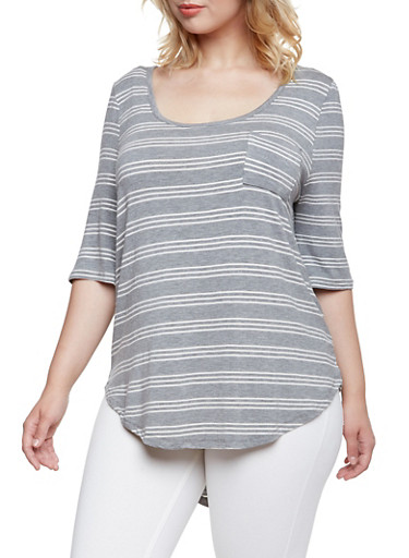 Plus Size Jersey Top with Scoop Neck,HEATHER GREY COMBO,large