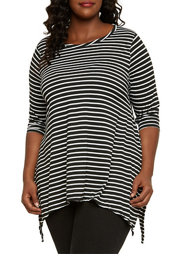 Plus Size Striped Top with Sharkbite Hem,BLACK,large