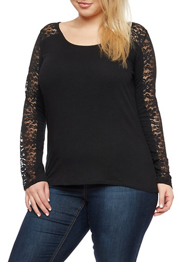 Plus Size Long Sleeve Lace Top,BLACK,large