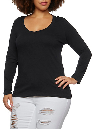 Plus Size V-Neck Top with Long Sleeves,BLACK,large