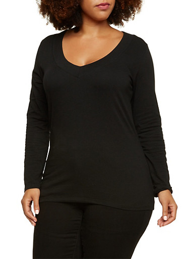 Plus Size Long Sleeve Top with V Neck,BLACK,large