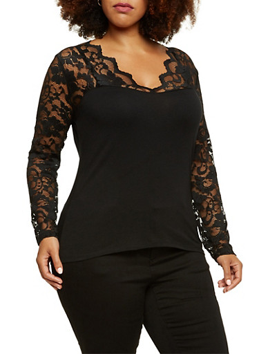 Plus Size Top with Long Lace Sleeves,BLACK,large