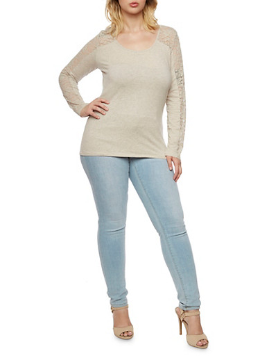 Plus Size Long Sleeve Top with Lace Paneling,OATMEAL,large