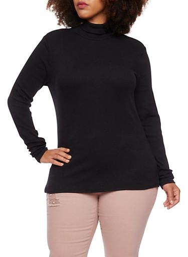 Plus Size Ribbed Turtleneck Top,BLACK,large