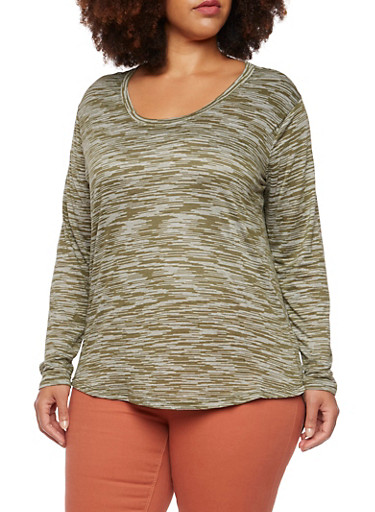 Plus Size High Low Top in Space Dye Knit,OLIVE,large