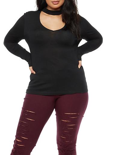 Plus Size Keyhole Long Sleeve Top,BLACK,large