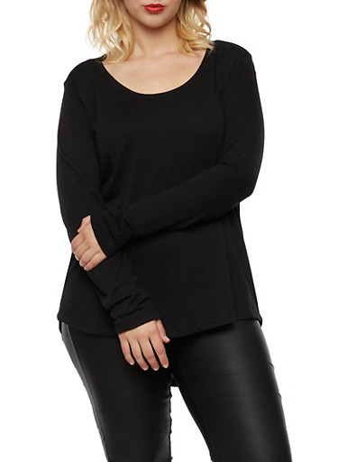 Plus Size Long Sleeve Top with Scoop Neck,BLACK,large