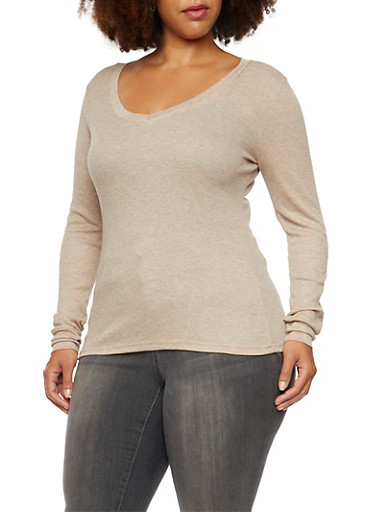 Plus Size Long Sleeve V Neck Thermal Top,OATMEAL,large