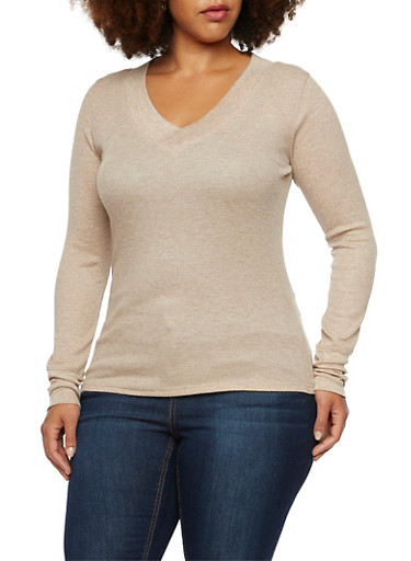 Plus Size Thermal V Neck Top,OATMEAL,large