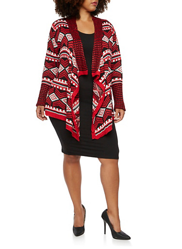 Plus Size Geometric Cardigan with Draped Front,BLACK-WAT-RED,large
