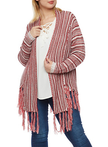 Plus Size Open Cardigan with Fringed Trim,BURGUNDY,large