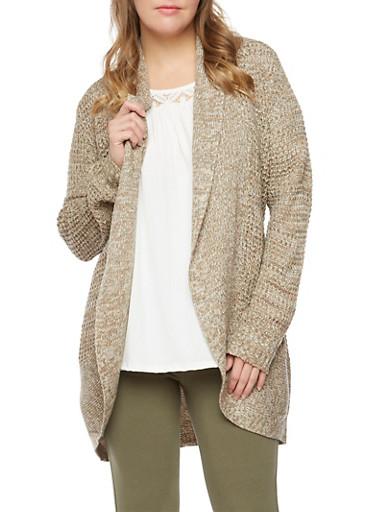 Plus Size Cardigan in Waffle Knit,OLIVE,large
