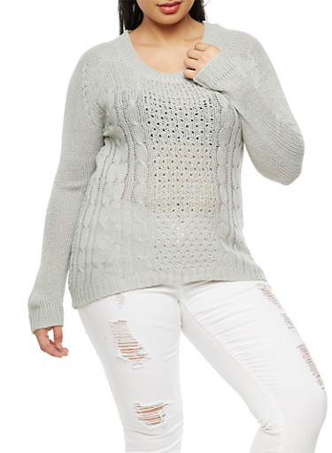 Plus Size Crew Neck Knit Sweater,GRAY,large