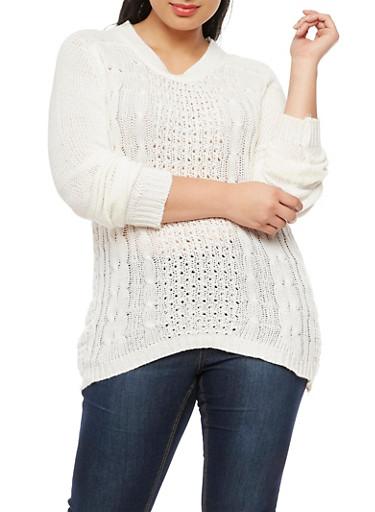 Plus Size Crew Neck Knit Sweater,IVORY,large