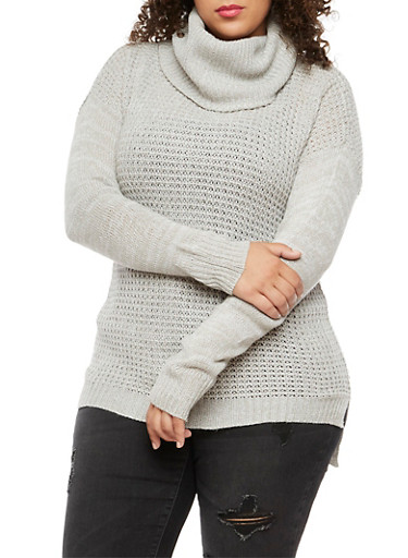 Plus Size Long Sleeve Cowl Neck Sweater,GRAY,large