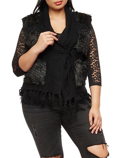 Plus Size Faux Fur Sweater Vest,BLACK,large