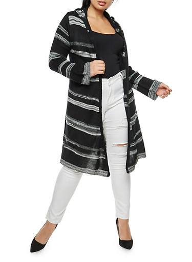 Plus Size Striped Hooded Duster,BLACK,large