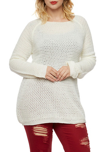 Plus Size Crew Neck Sweater with Popcorn Knit,IVORY,large