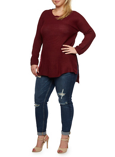 Plus Size Sweater with Side Slits,BURGUNDY,large