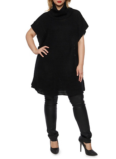 Plus Size Tunic Sweater with Cowl Neck,BLACK,large