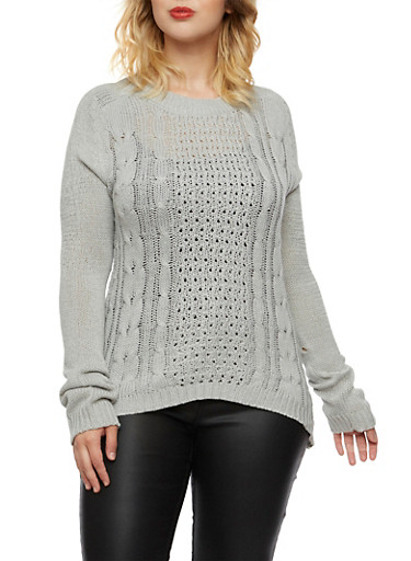 Plus Size Cable Knit Sweater with Crew Neck,GRAY,large