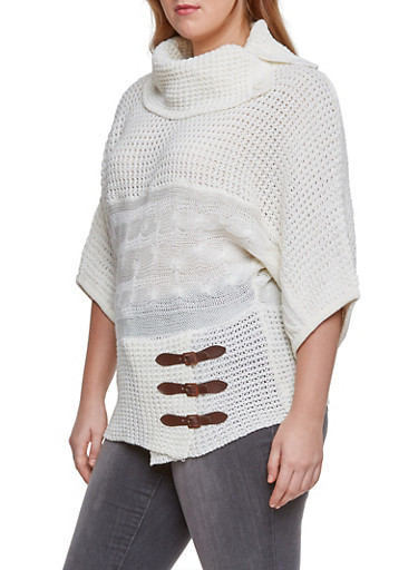 Plus Size Knit Sweater with Buckle Accents,IVORY,large