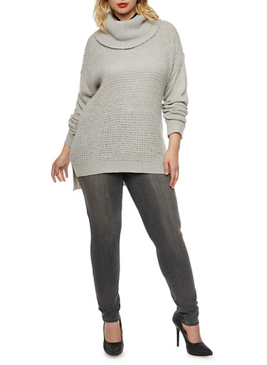 Plus Size Sweater with Cowl Neck,GRAY,large