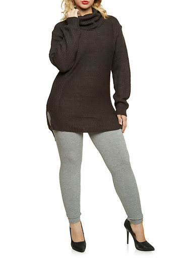 Plus Size Cowl Neck Sweater,CHARCOAL,large