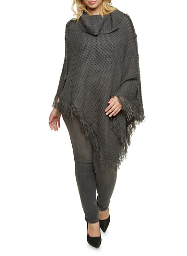 Plus Size Cowl Neck Poncho with Button Accents,GRAY,large