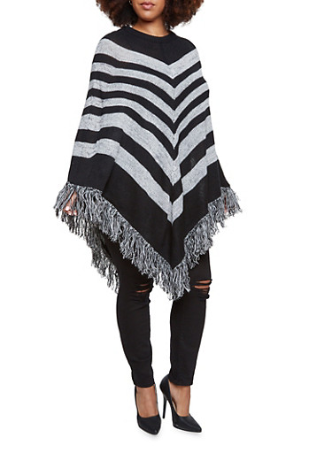 Plus Size Striped Poncho with Fringe Hem,BLACK,large