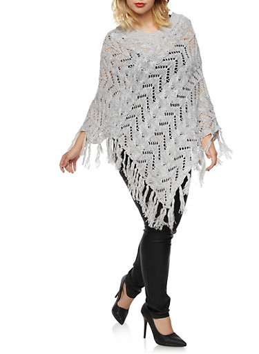 Plus Size V Neck Poncho with Fringe Trim,GRAY,large