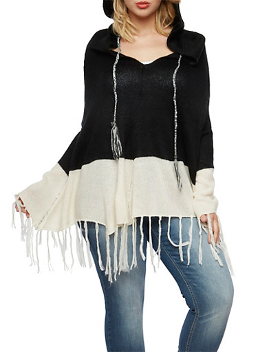 Plus Size Color Block Poncho with Hood and Fringe,BLACK,large