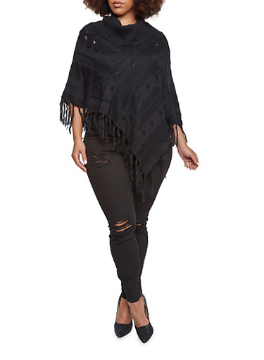 Plus Size Cable Knit Poncho with Cowl Neck,BLACK,large