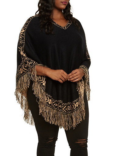 Plus Size Fringe Poncho with Aztec Print Trim,BLACK,large