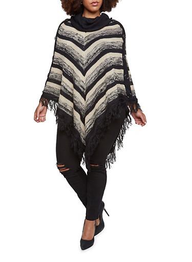 Plus Size Striped Poncho with Fringe Hem,BLACK,large