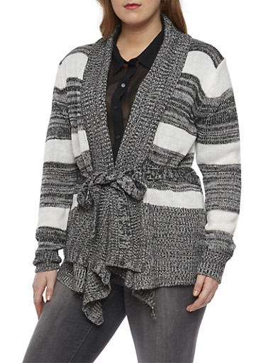 Plus Size Striped Open Front Cardigan with Tie Belt,BLACK,large