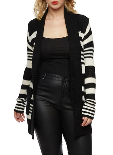 Plus Size Striped Open Front Cardigan,BLACK/WHITE,large