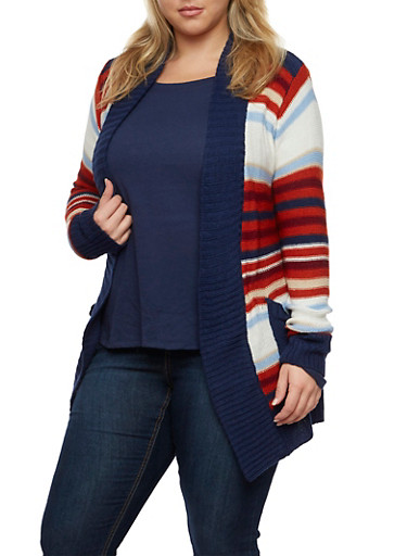 Plus Size Striped Open Front Cardigan,BLUE,large