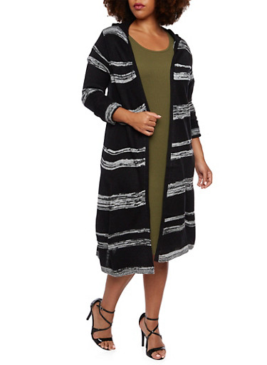 Plus Size Striped Long Cardigan with Hood,BLACK,large