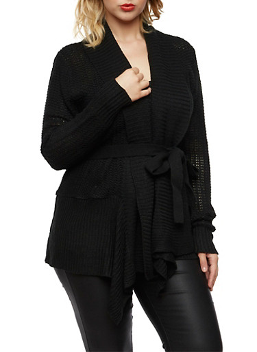 Plus Size Shawl Cardigan with Belt,BLACK,large