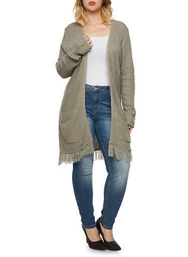 Plus Size Open Front Cardigan with Fringe,GRAY,large