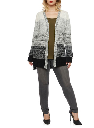 Plus Size Cardigan in Marled Knit,BLACK,large