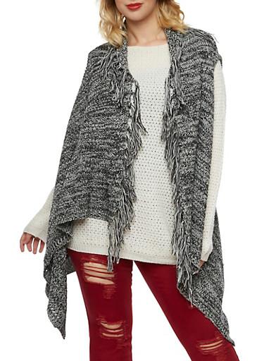 Plus Size Fringe Knit Vest with Open Front,BLACK,large