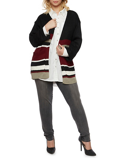Plus Size Striped Cardigan with Front Pockets,BLACK,large