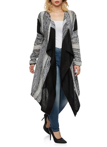 Plus Size Open Front Cardigan with Sharkbite Hem,BLACK,large