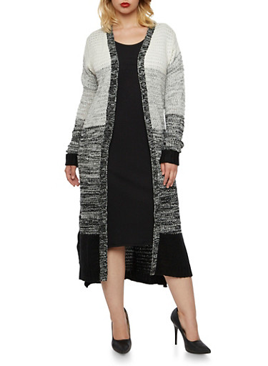 Plus Size Color Block Duster Cardigan,BLACK,large
